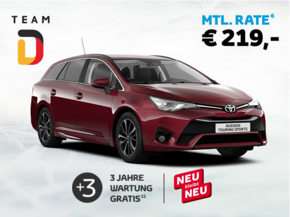 roter Toyota Avensis Touring Sports als Team D Sondermodell